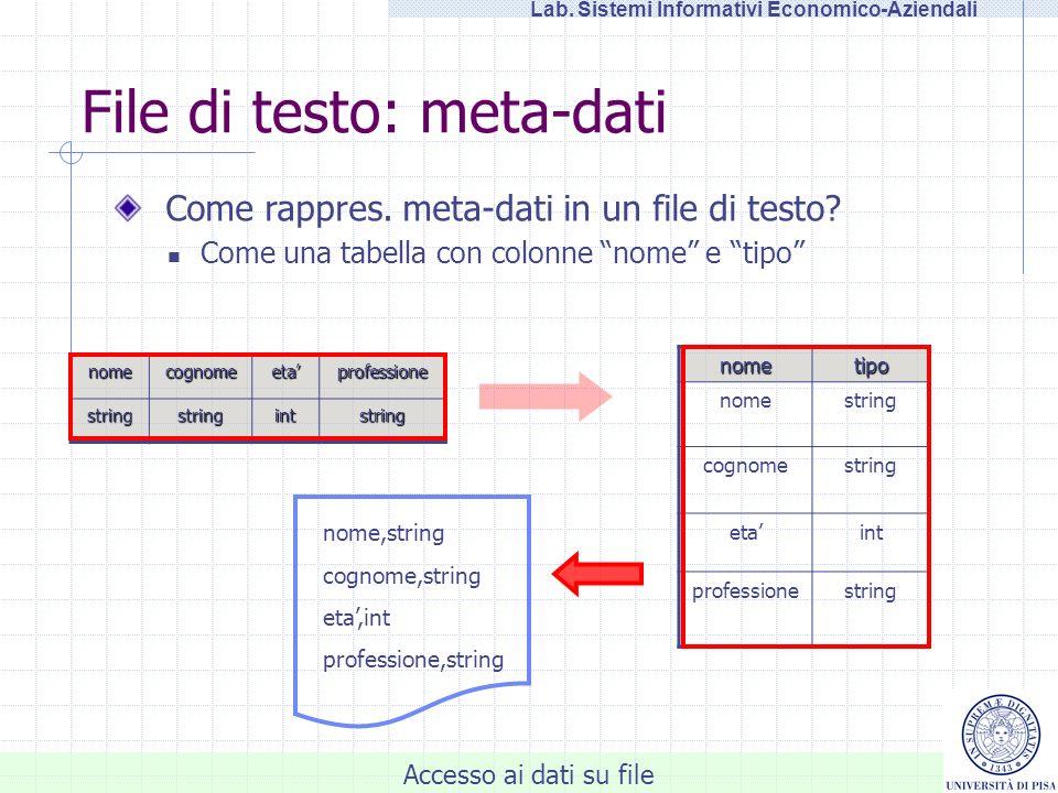 Accesso ai dati su file Lab. Sistemi Informativi Economico-Aziendali File di testo: meta-dati nomecognomeetaprofessione stringstringintstring Come rap