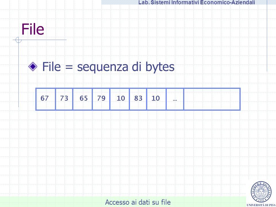 Accesso ai dati su file Lab. Sistemi Informativi Economico-Aziendali File File = sequenza di bytes 677383657910 …