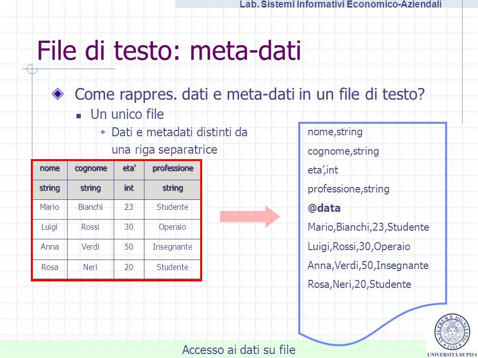 Accesso ai dati su file Lab. Sistemi Informativi Economico-Aziendali File di testo: meta-dati nomecognomeetaprofessione stringstringintstring MarioBia