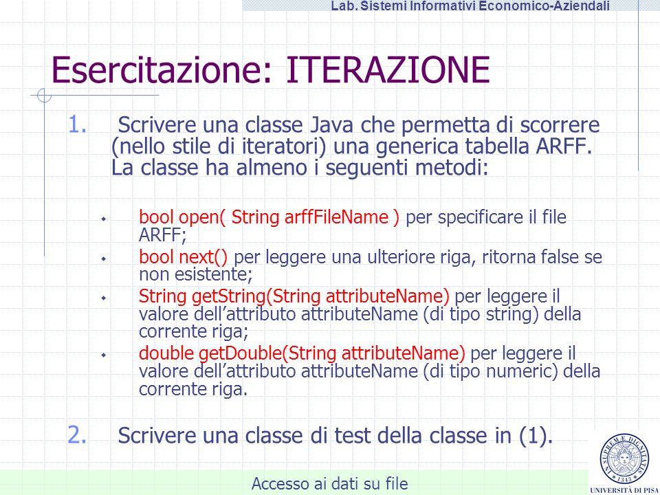 Accesso ai dati su file Lab. Sistemi Informativi Economico-Aziendali Esercitazione: ITERAZIONE 1. Scrivere una classe Java che permetta di scorrere (n