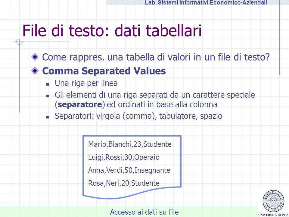 Accesso ai dati su file Lab.Sistemi Informativi Economico-Aziendali Esercitazione: ITERAZIONE 1.
