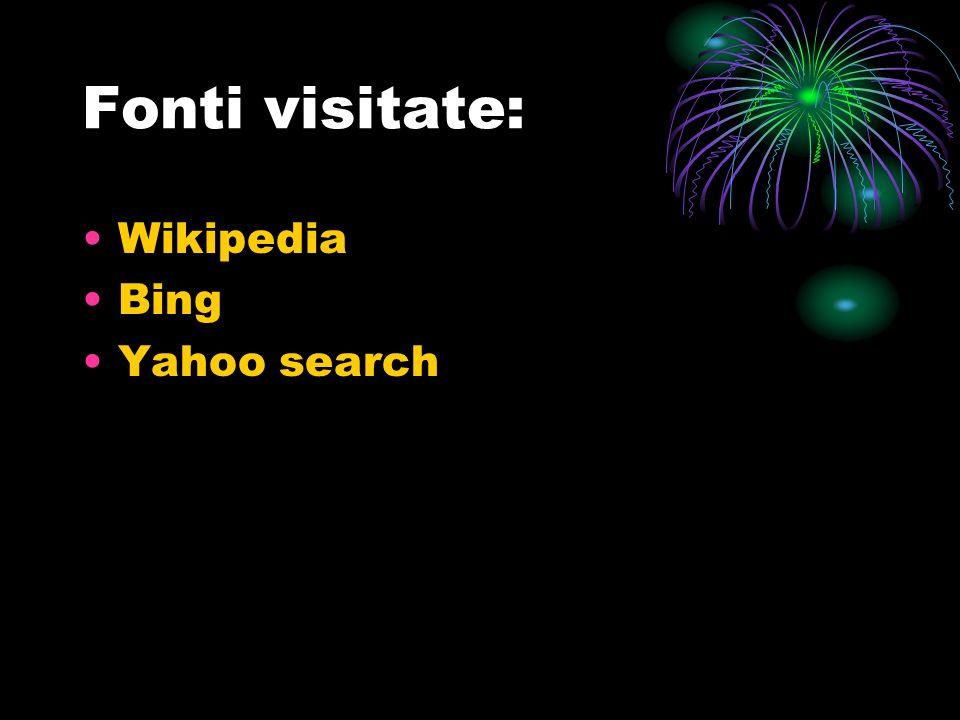 Fonti visitate: Wikipedia Bing Yahoo search