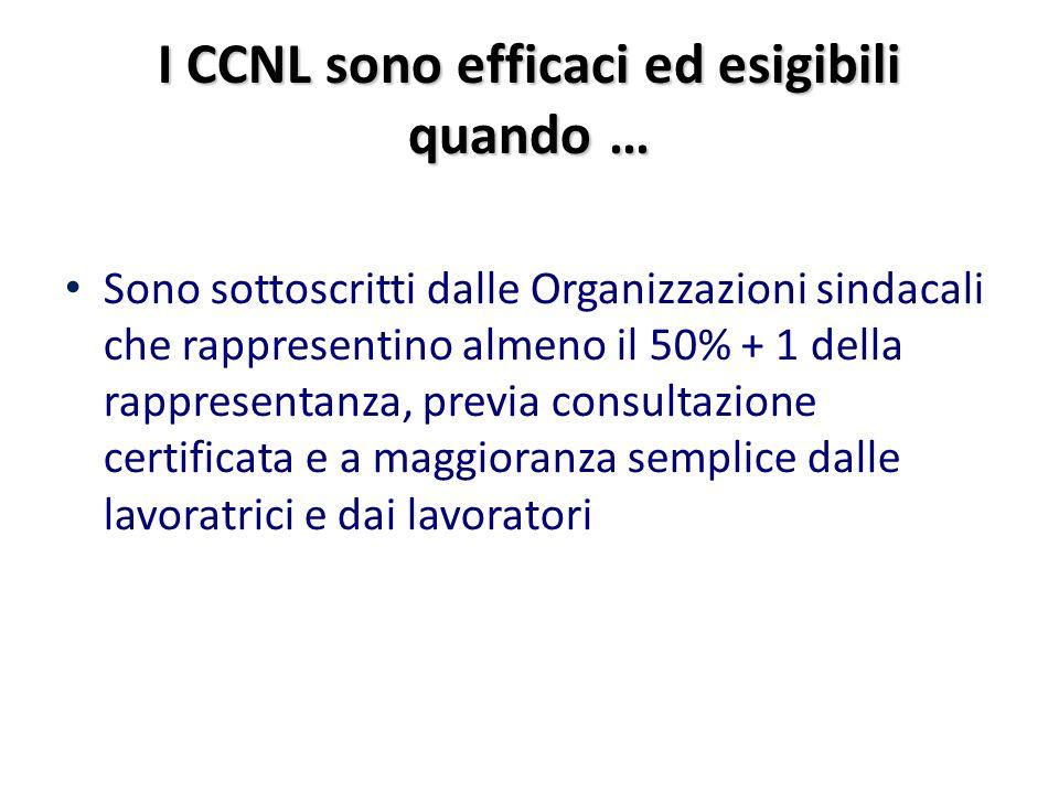 I CCNL sono efficaci ed esigibili quando … Sono sottoscritti dalle Organizzazioni sindacali che rappresentino almeno il 50% + 1 della rappresentanza, previa consultazione certificata e a maggioranza semplice dalle lavoratrici e dai lavoratori