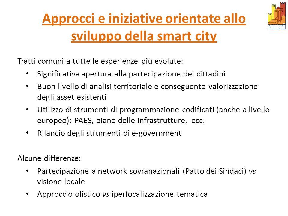 Approcci e iniziative orientate allo sviluppo della smart city Tratti comuni a tutte le esperienze più evolute: Significativa apertura alla partecipaz