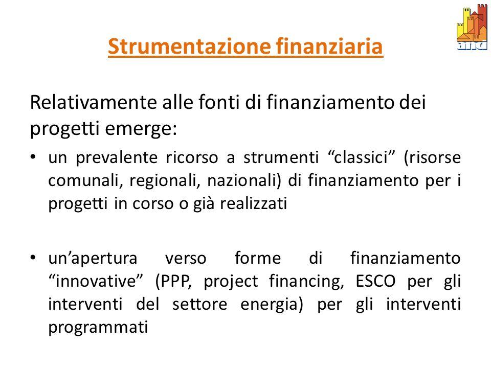 Strumentazione finanziaria Relativamente alle fonti di finanziamento dei progetti emerge: un prevalente ricorso a strumenti classici (risorse comunali