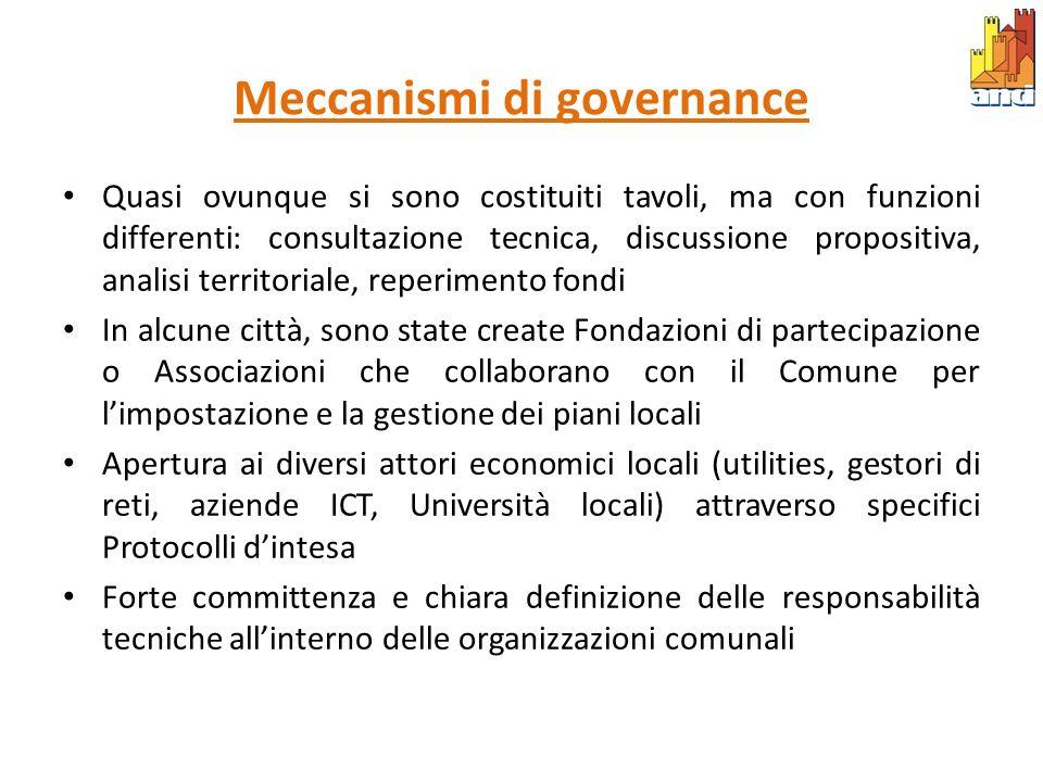 Meccanismi di governance Quasi ovunque si sono costituiti tavoli, ma con funzioni differenti: consultazione tecnica, discussione propositiva, analisi