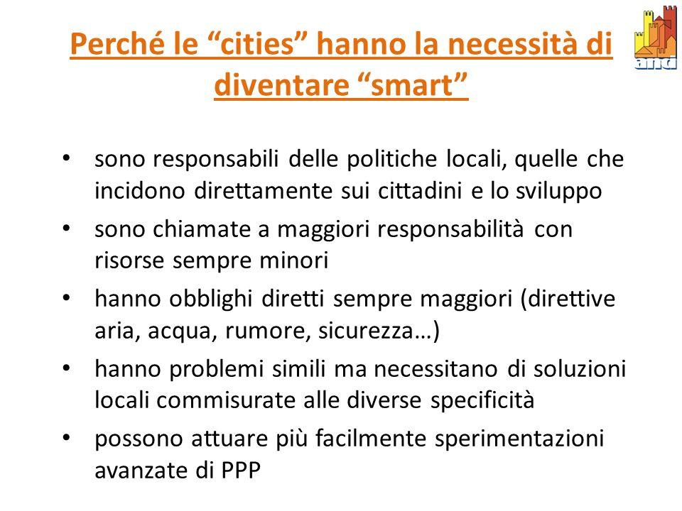Smart city come tema di politica europea 8 iniziative tra cui Smart Cities Initiative -> migliore efficienza energetica e diffusione di energie rinnovabili nelle grandi città, economia a basse emissioni di CO2 Dotazione finanziaria 10-12 miliardi di euro (su 58/71) fino al 2020 Forte correlazione tra produzione/gestione energetica, infrastrutture di rete evolute (NGN o smart grid), integrazione reti/servizi innovativi Ruolo chiave dellindustria partner Città italiane ad oggi coinvolte: Genova, Torino, Bari Gennaio 2008: la Commissione Europea lancia il Patto dei Sindaci (Covenant of Mayors) - città europee verso la sostenibilità energetica e ambientale entro il 2020 Ottobre 2009: European Strategic Energy Technology Plan SET Plan - Towards a low-carbon future (Roadmap al 2020) Impegni: dai Piani energetici ai Piano d azione energia sostenibile (PAES) Ad oggi 1.700 Comuni italiani aderenti (di cui meno di 300 hanno adottato il PAES) Nessuna dotazione finanziaria diretta – ma opportunità di utilizzo fondi BEI come Elena e UE come fondi strutturali FESR 2007 – 13 o strumenti finanziari nuovi per interventi specifici