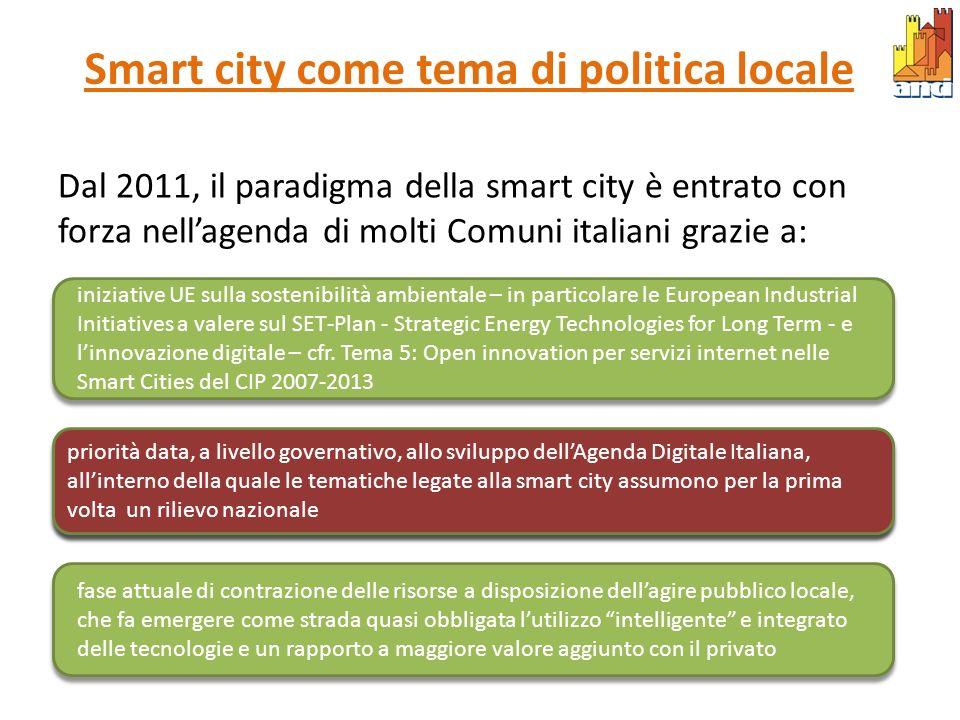 Smart city come tema di politica locale Dal 2011, il paradigma della smart city è entrato con forza nellagenda di molti Comuni italiani grazie a: iniz