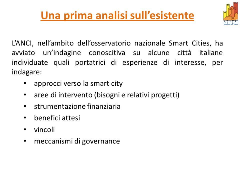 Una prima analisi sullesistente LANCI, nellambito dellosservatorio nazionale Smart Cities, ha avviato unindagine conoscitiva su alcune città italiane
