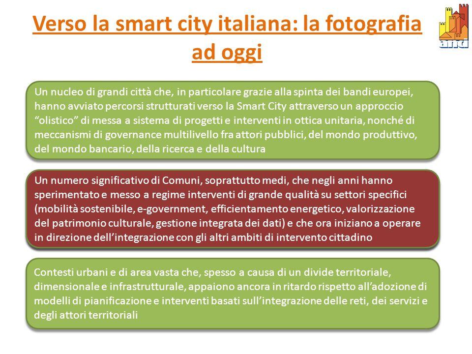 Verso la smart city italiana: la fotografia ad oggi Un nucleo di grandi città che, in particolare grazie alla spinta dei bandi europei, hanno avviato