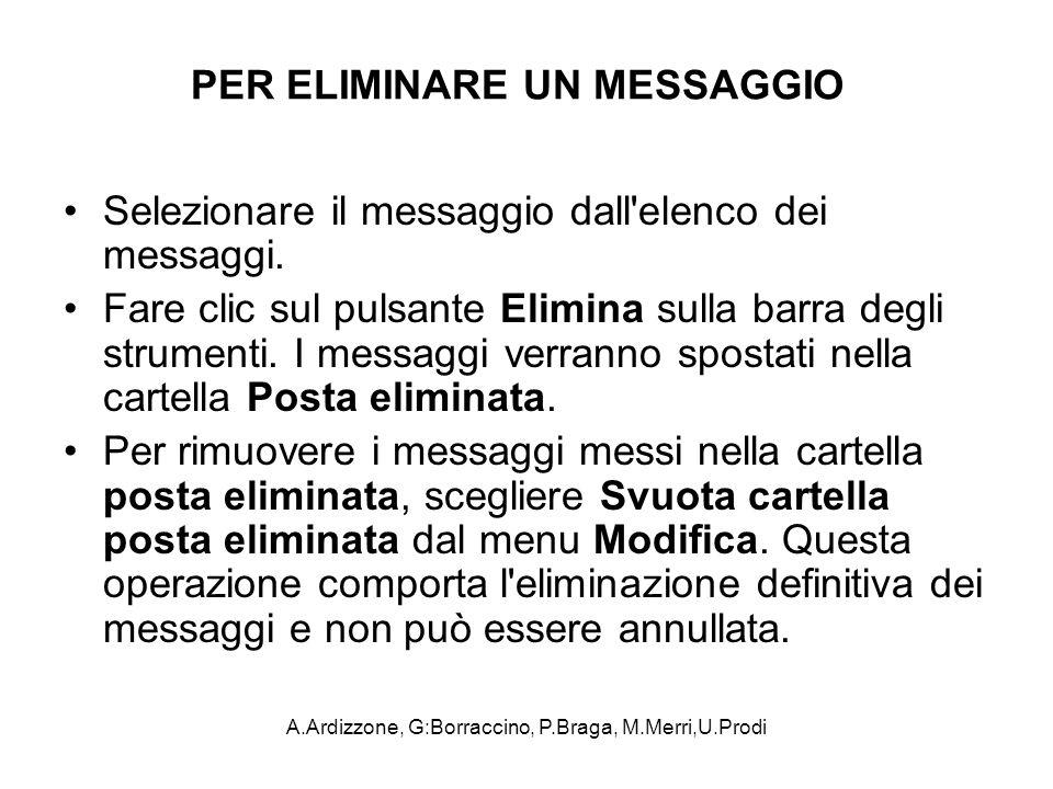 A.Ardizzone, G:Borraccino, P.Braga, M.Merri,U.Prodi PER ELIMINARE UN MESSAGGIO Selezionare il messaggio dall'elenco dei messaggi. Fare clic sul pulsan