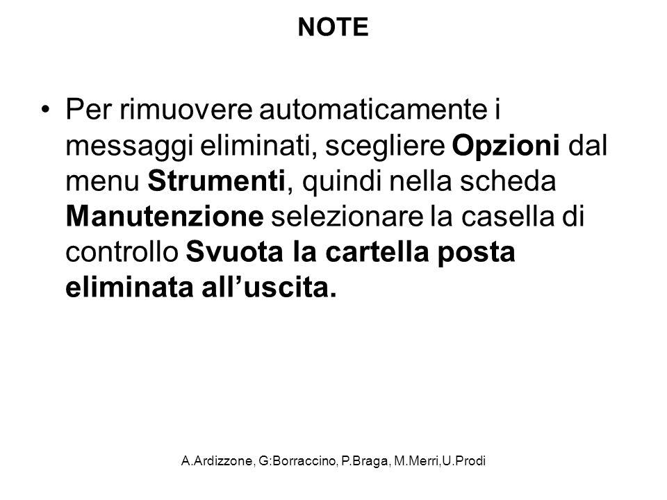 A.Ardizzone, G:Borraccino, P.Braga, M.Merri,U.Prodi NOTE Per rimuovere automaticamente i messaggi eliminati, scegliere Opzioni dal menu Strumenti, qui