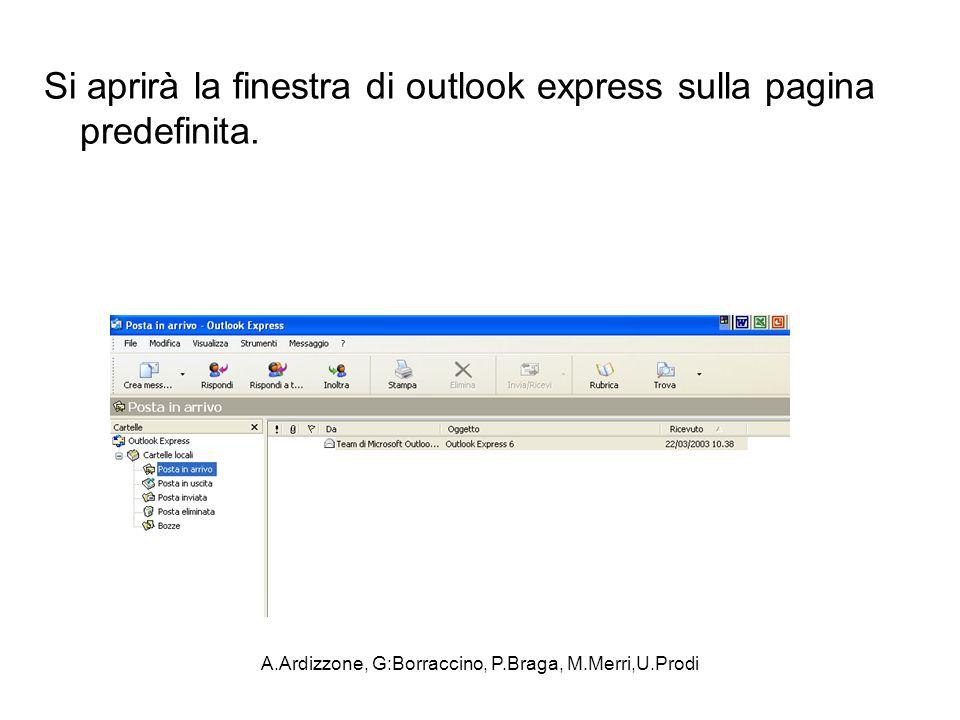 A.Ardizzone, G:Borraccino, P.Braga, M.Merri,U.Prodi Si aprirà la finestra di outlook express sulla pagina predefinita.