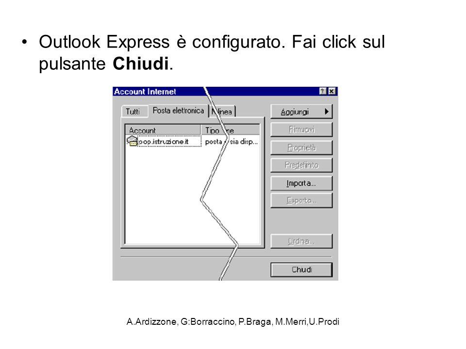 A.Ardizzone, G:Borraccino, P.Braga, M.Merri,U.Prodi Outlook Express è configurato. Fai click sul pulsante Chiudi.