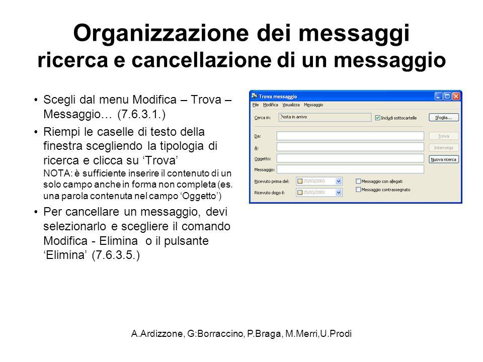 A.Ardizzone, G:Borraccino, P.Braga, M.Merri,U.Prodi Organizzazione dei messaggi ricerca e cancellazione di un messaggio Scegli dal menu Modifica – Tro