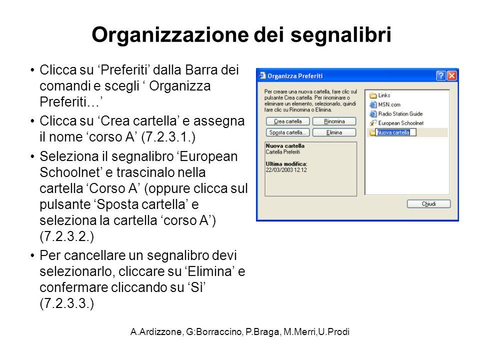 A.Ardizzone, G:Borraccino, P.Braga, M.Merri,U.Prodi Organizzazione dei segnalibri Clicca su Preferiti dalla Barra dei comandi e scegli Organizza Prefe
