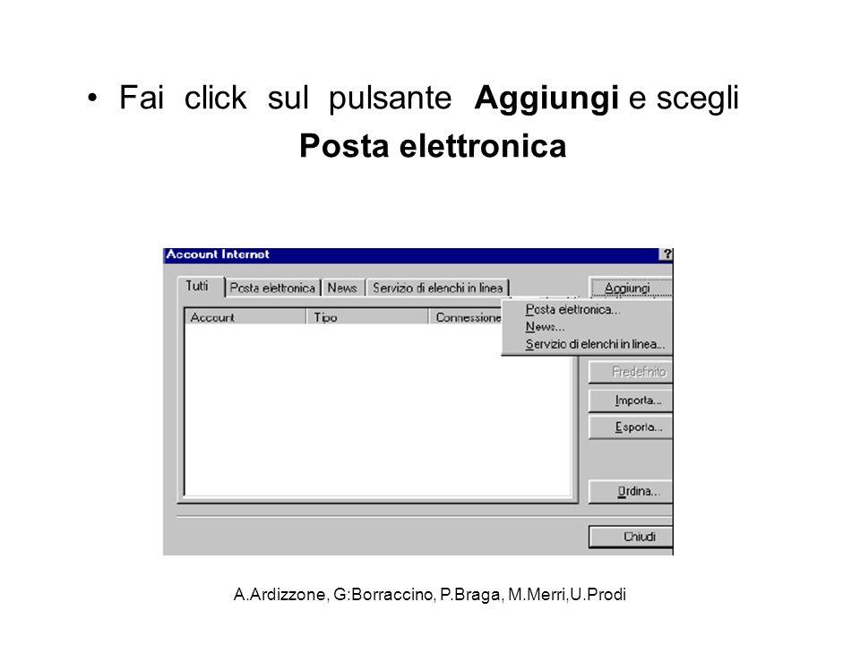A.Ardizzone, G:Borraccino, P.Braga, M.Merri,U.Prodi Fai click sul pulsante Aggiungi e scegli Posta elettronica