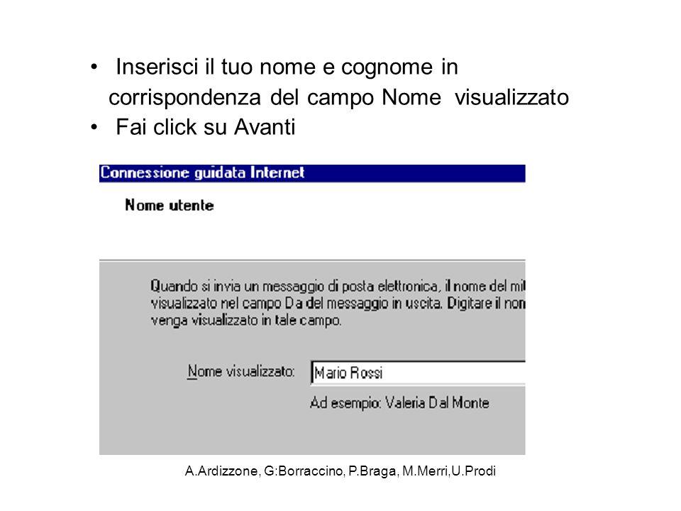 A.Ardizzone, G:Borraccino, P.Braga, M.Merri,U.Prodi Inserisci il tuo nome e cognome in corrispondenza del campo Nome visualizzato Fai click su Avanti