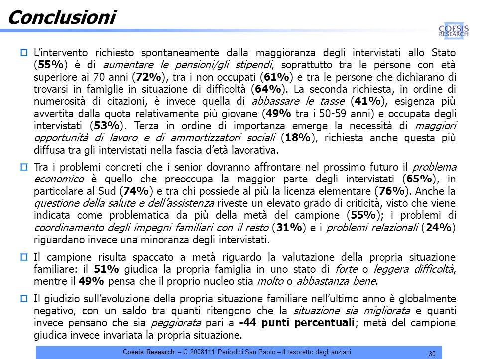 30 Coesis Research – C 2008111 Periodici San Paolo – Il tesoretto degli anziani Conclusioni Lintervento richiesto spontaneamente dalla maggioranza degli intervistati allo Stato (55%) è di aumentare le pensioni/gli stipendi, soprattutto tra le persone con età superiore ai 70 anni (72%), tra i non occupati (61%) e tra le persone che dichiarano di trovarsi in famiglie in situazione di difficoltà (64%).