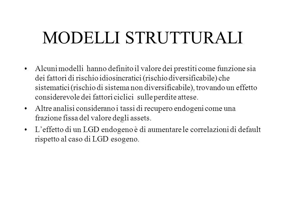 MODELLI STRUTTURALI Alcuni modelli hanno definito il valore dei prestiti come funzione sia dei fattori di rischio idiosincratici (rischio diversificab