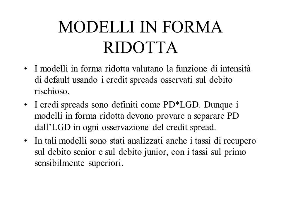 MODELLI IN FORMA RIDOTTA I modelli in forma ridotta valutano la funzione di intensità di default usando i credit spreads osservati sul debito rischios