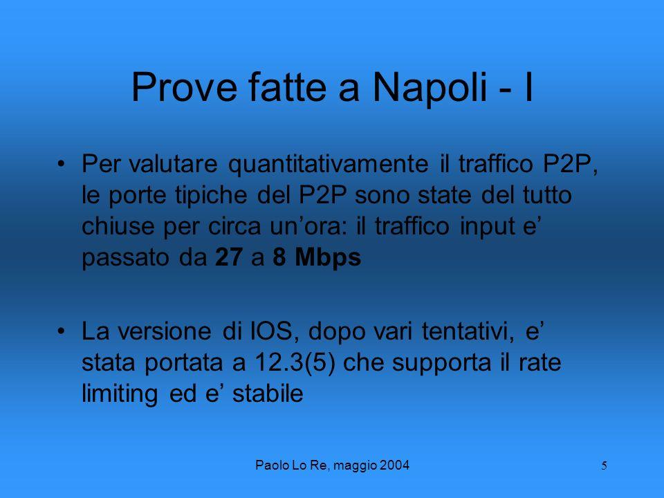 Paolo Lo Re, maggio 20045 Prove fatte a Napoli - I Per valutare quantitativamente il traffico P2P, le porte tipiche del P2P sono state del tutto chiuse per circa unora: il traffico input e passato da 27 a 8 Mbps La versione di IOS, dopo vari tentativi, e stata portata a 12.3(5) che supporta il rate limiting ed e stabile
