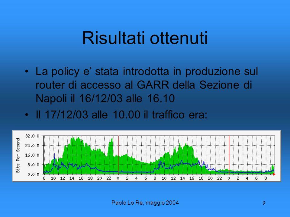 Paolo Lo Re, maggio 20049 Risultati ottenuti La policy e stata introdotta in produzione sul router di accesso al GARR della Sezione di Napoli il 16/12/03 alle 16.10 Il 17/12/03 alle 10.00 il traffico era:
