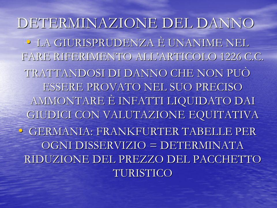 DETERMINAZIONE DEL DANNO LA GIURISPRUDENZA È UNANIME NEL FARE RIFERIMENTO ALLARTICOLO 1226 C.C.