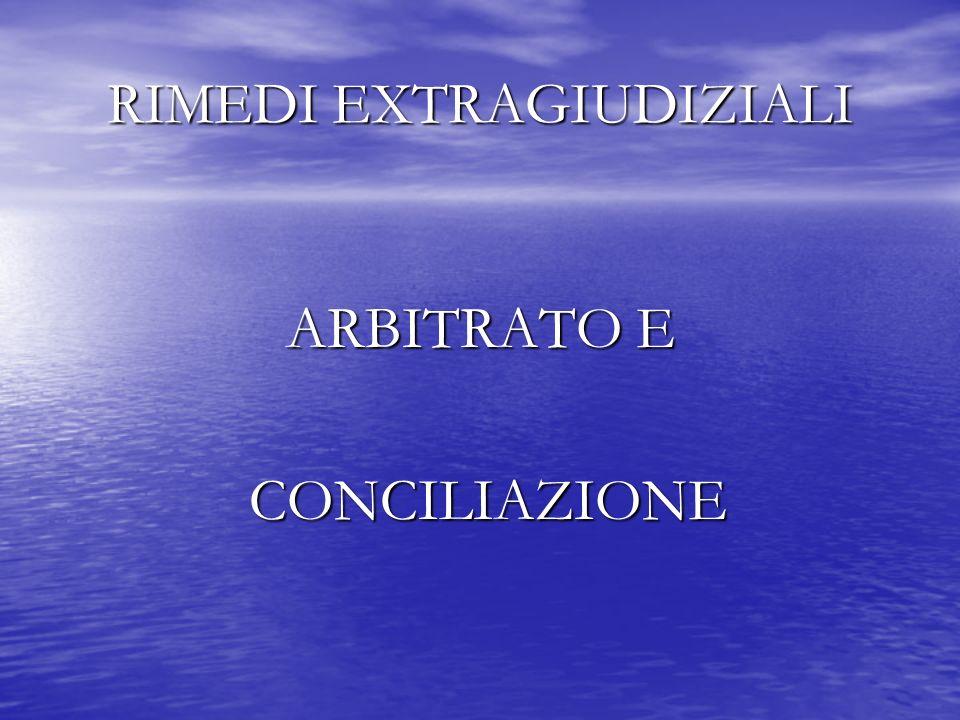 RIMEDI EXTRAGIUDIZIALI ARBITRATO E CONCILIAZIONE CONCILIAZIONE