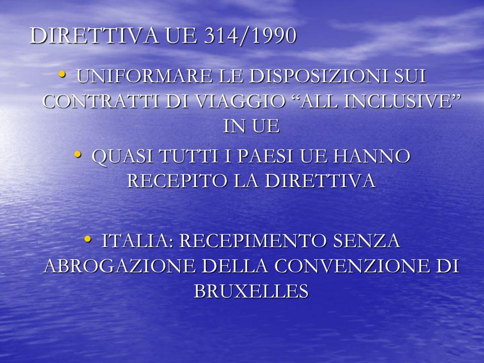 DIRETTIVA UE 314/1990 UNIFORMARE LE DISPOSIZIONI SUI CONTRATTI DI VIAGGIO ALL INCLUSIVE IN UE UNIFORMARE LE DISPOSIZIONI SUI CONTRATTI DI VIAGGIO ALL INCLUSIVE IN UE QUASI TUTTI I PAESI UE HANNO RECEPITO LA DIRETTIVA QUASI TUTTI I PAESI UE HANNO RECEPITO LA DIRETTIVA ITALIA: RECEPIMENTO SENZA ABROGAZIONE DELLA CONVENZIONE DI BRUXELLES ITALIA: RECEPIMENTO SENZA ABROGAZIONE DELLA CONVENZIONE DI BRUXELLES