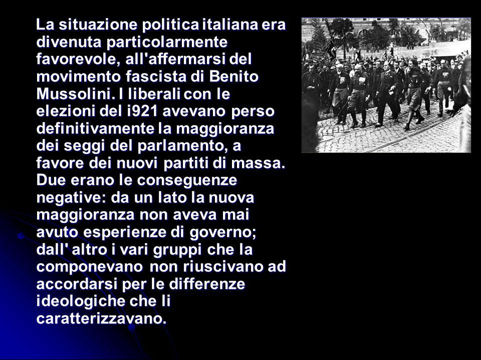 La situazione politica italiana era divenuta particolarmente favorevole, all'affermarsi del movimento fascista di Benito Mussolini. I liberali con le