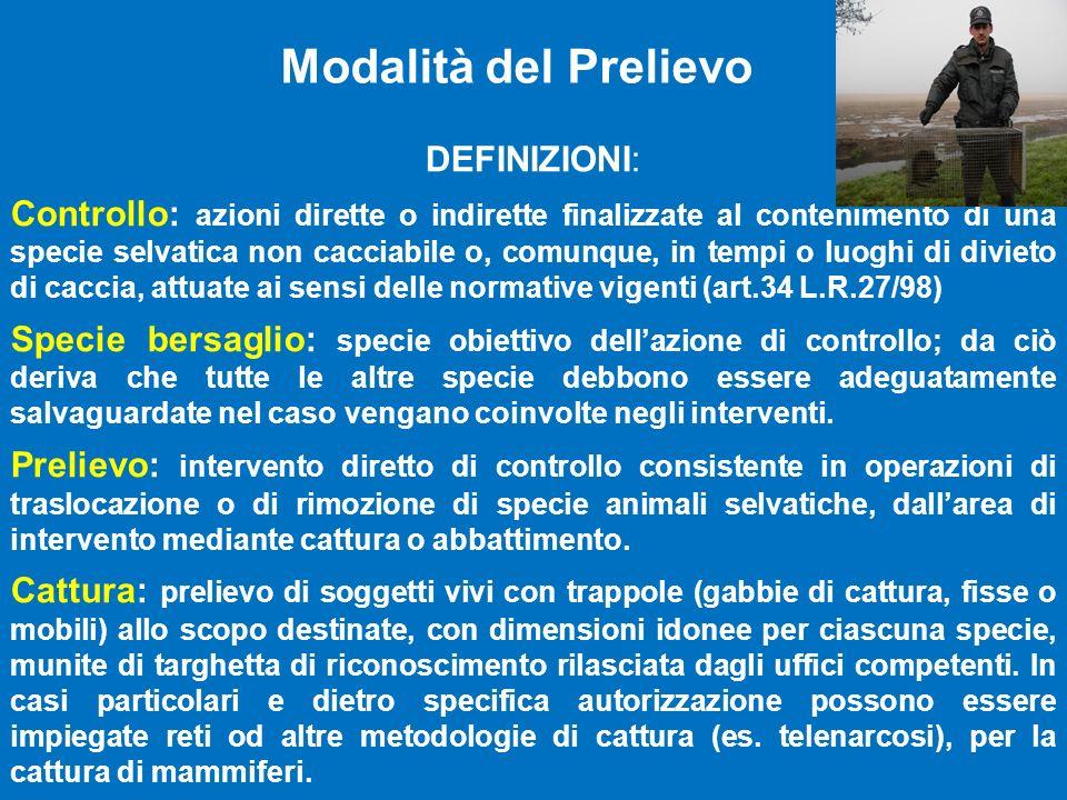 Modalità del Prelievo DEFINIZIONI: Controllo: azioni dirette o indirette finalizzate al contenimento di una specie selvatica non cacciabile o, comunqu