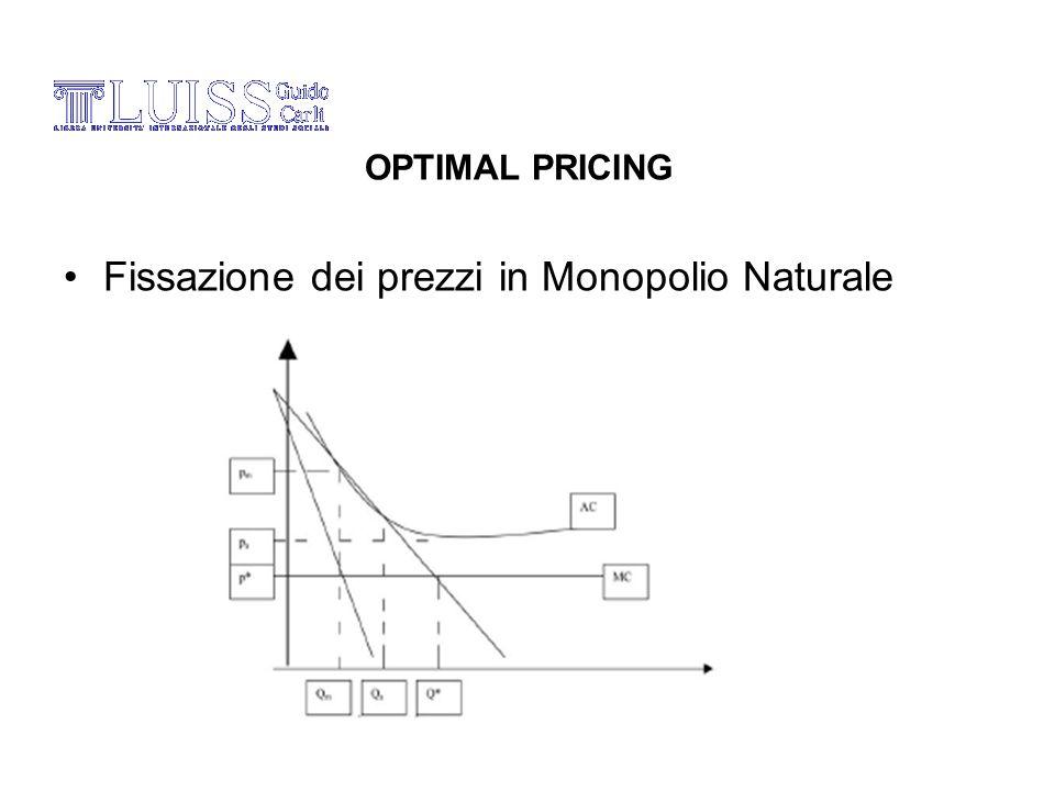 Fissazione dei prezzi in Monopolio Naturale OPTIMAL PRICING
