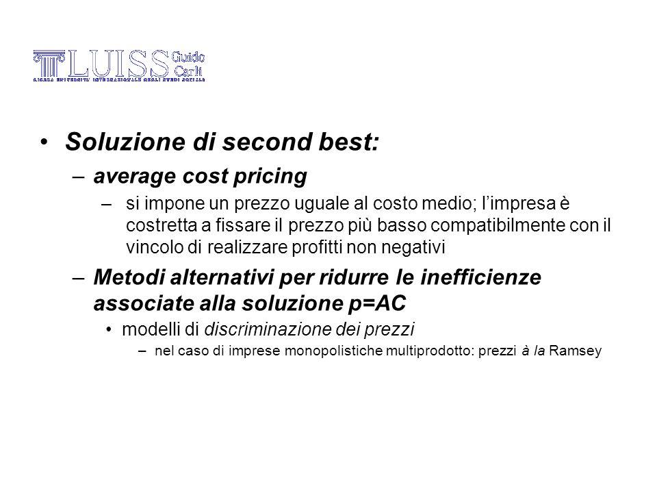 Soluzione di second best: –average cost pricing –si impone un prezzo uguale al costo medio; limpresa è costretta a fissare il prezzo più basso compati