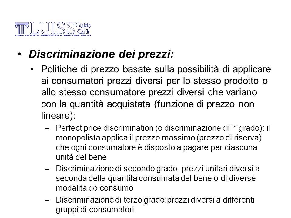 Discriminazione dei prezzi: Politiche di prezzo basate sulla possibilità di applicare ai consumatori prezzi diversi per lo stesso prodotto o allo stes