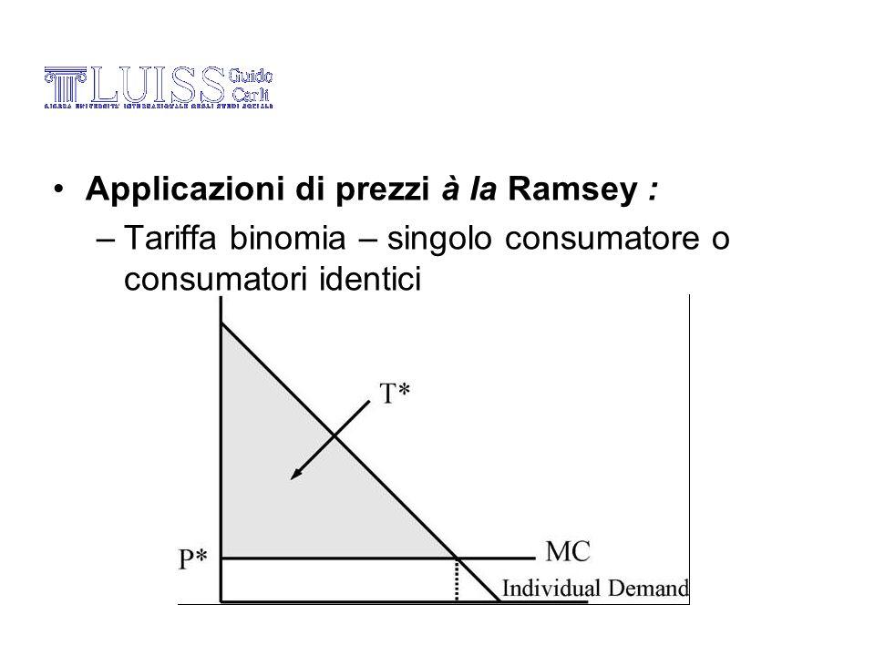 Applicazioni di prezzi à la Ramsey : – Tariffa binomia – singolo consumatore o consumatori identici