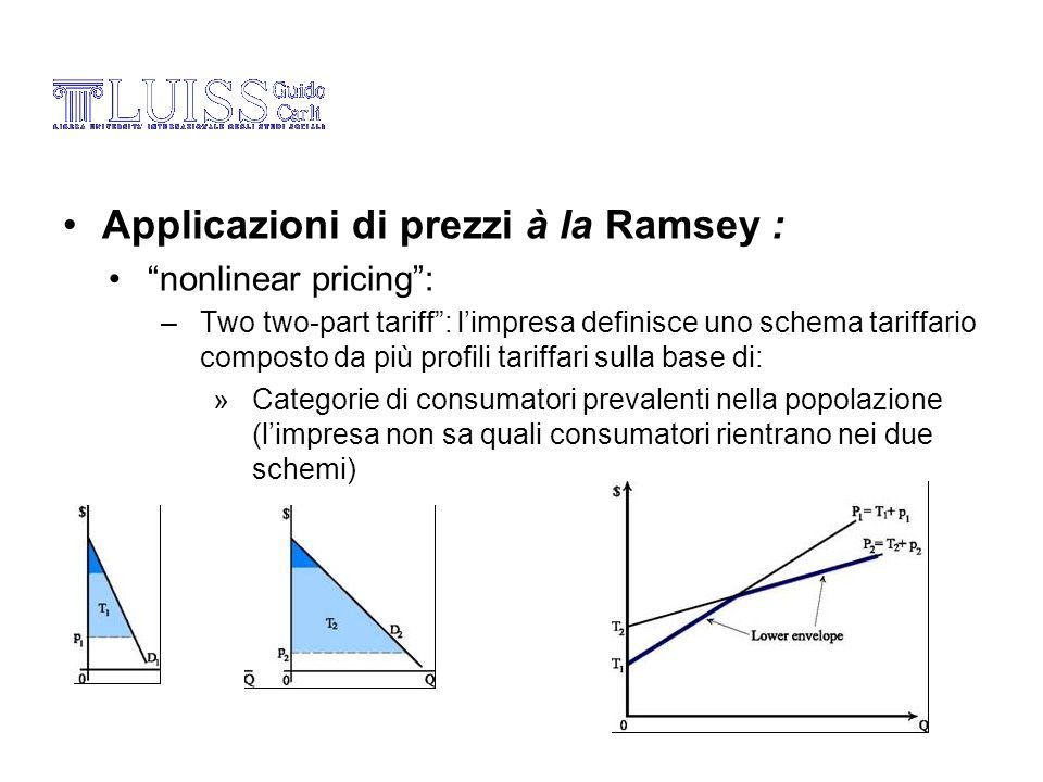 Applicazioni di prezzi à la Ramsey : nonlinear pricing: –Two two-part tariff: limpresa definisce uno schema tariffario composto da più profili tariffa
