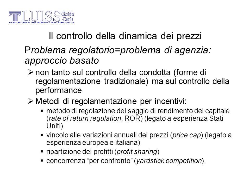 Il controllo della dinamica dei prezzi Problema regolatorio=problema di agenzia: approccio basato non tanto sul controllo della condotta (forme di reg