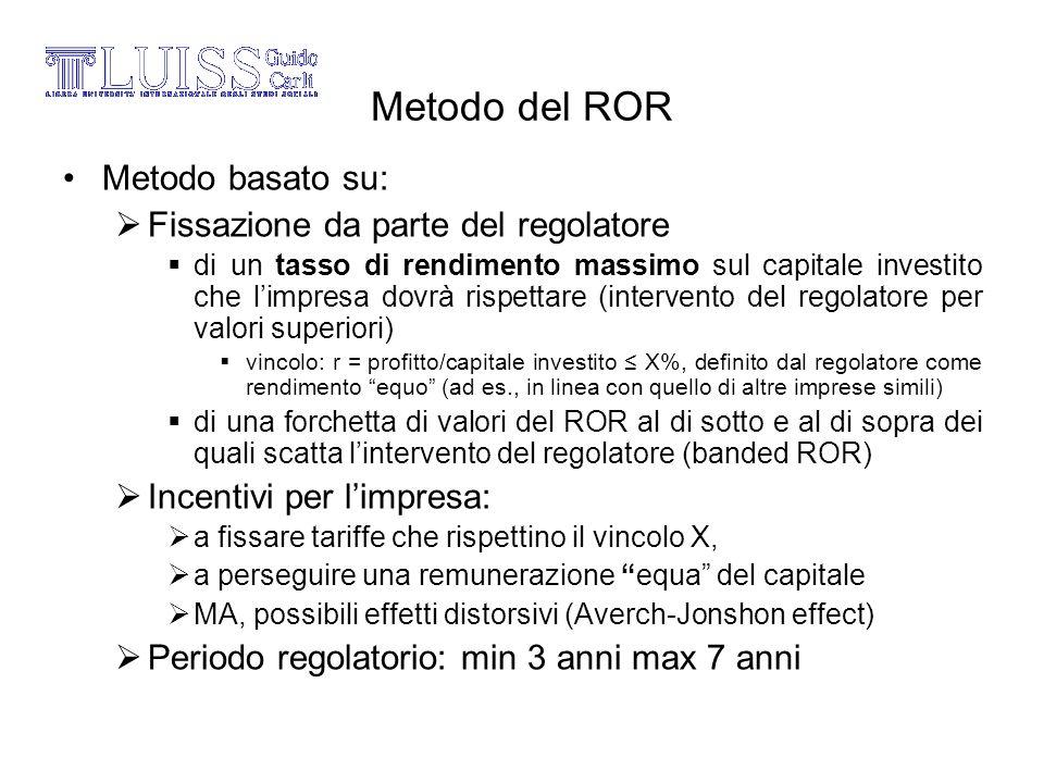 Metodo del ROR Metodo basato su: Fissazione da parte del regolatore di un tasso di rendimento massimo sul capitale investito che limpresa dovrà rispet