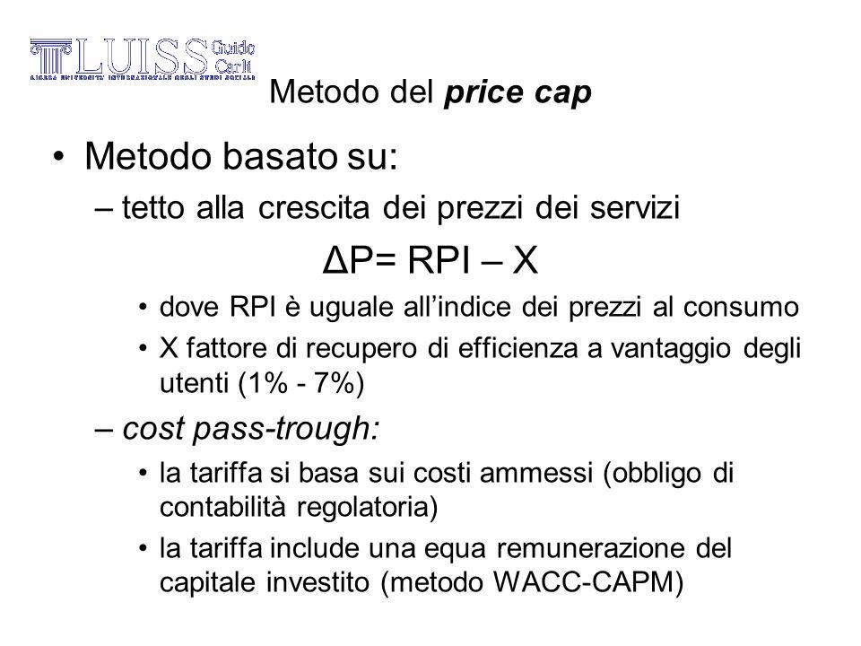 Metodo del price cap Metodo basato su: –tetto alla crescita dei prezzi dei servizi ΔP= RPI – X dove RPI è uguale allindice dei prezzi al consumo X fat