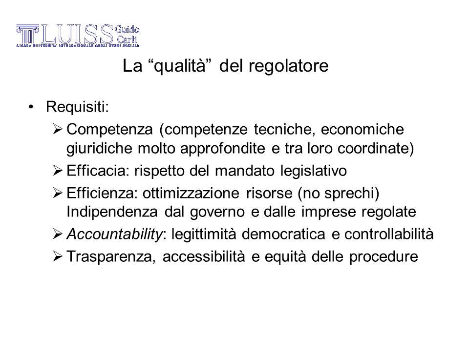 La qualità del regolatore Requisiti: Competenza (competenze tecniche, economiche giuridiche molto approfondite e tra loro coordinate) Efficacia: rispe