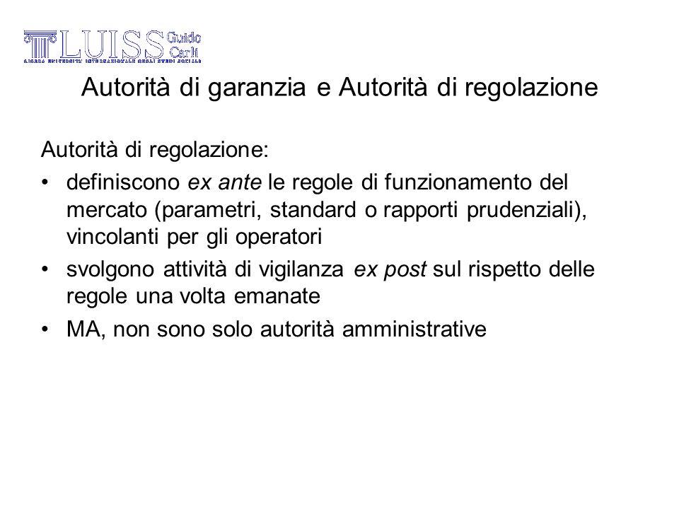 Autorità di garanzia e Autorità di regolazione Autorità di regolazione: definiscono ex ante le regole di funzionamento del mercato (parametri, standar