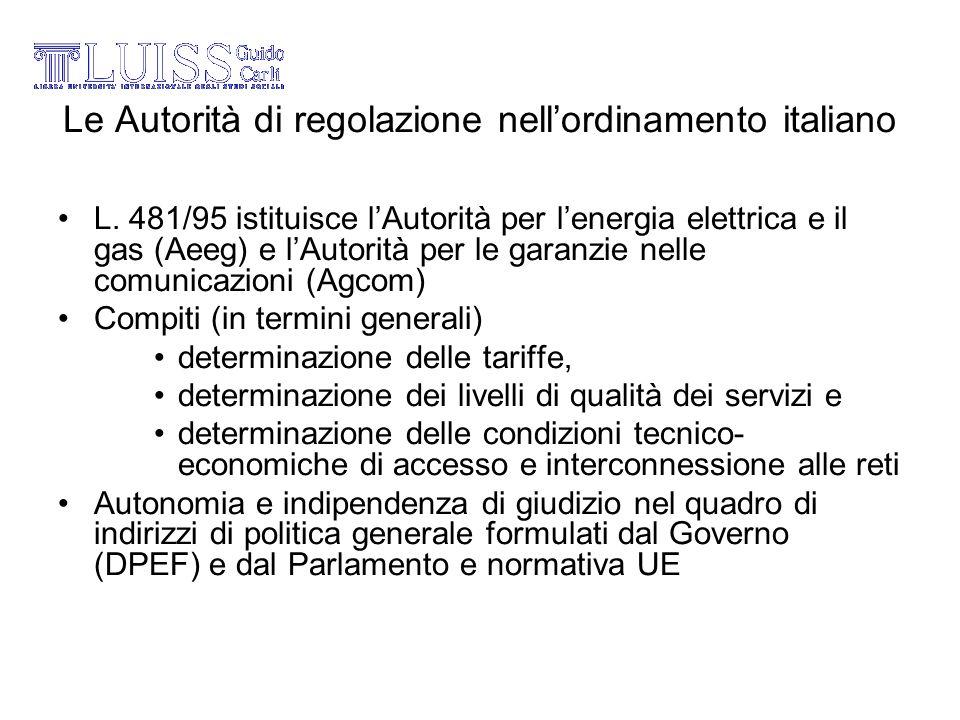 Le Autorità di regolazione nellordinamento italiano L. 481/95 istituisce lAutorità per lenergia elettrica e il gas (Aeeg) e lAutorità per le garanzie