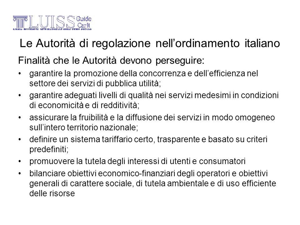 Le Autorità di regolazione nellordinamento italiano Finalità che le Autorità devono perseguire: garantire la promozione della concorrenza e delleffici