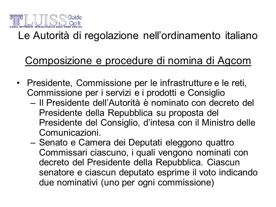 Le Autorità di regolazione nellordinamento italiano Composizione e procedure di nomina di Agcom Presidente, Commissione per le infrastrutture e le ret