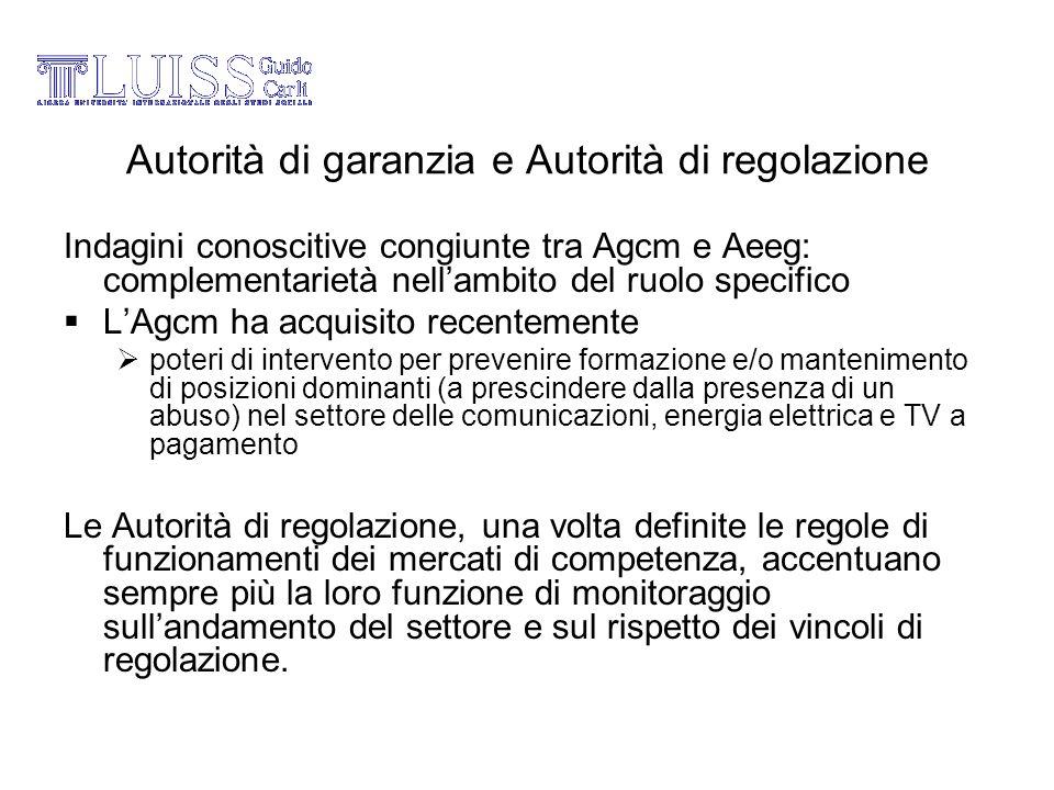 Autorità di garanzia e Autorità di regolazione Indagini conoscitive congiunte tra Agcm e Aeeg: complementarietà nellambito del ruolo specifico LAgcm h