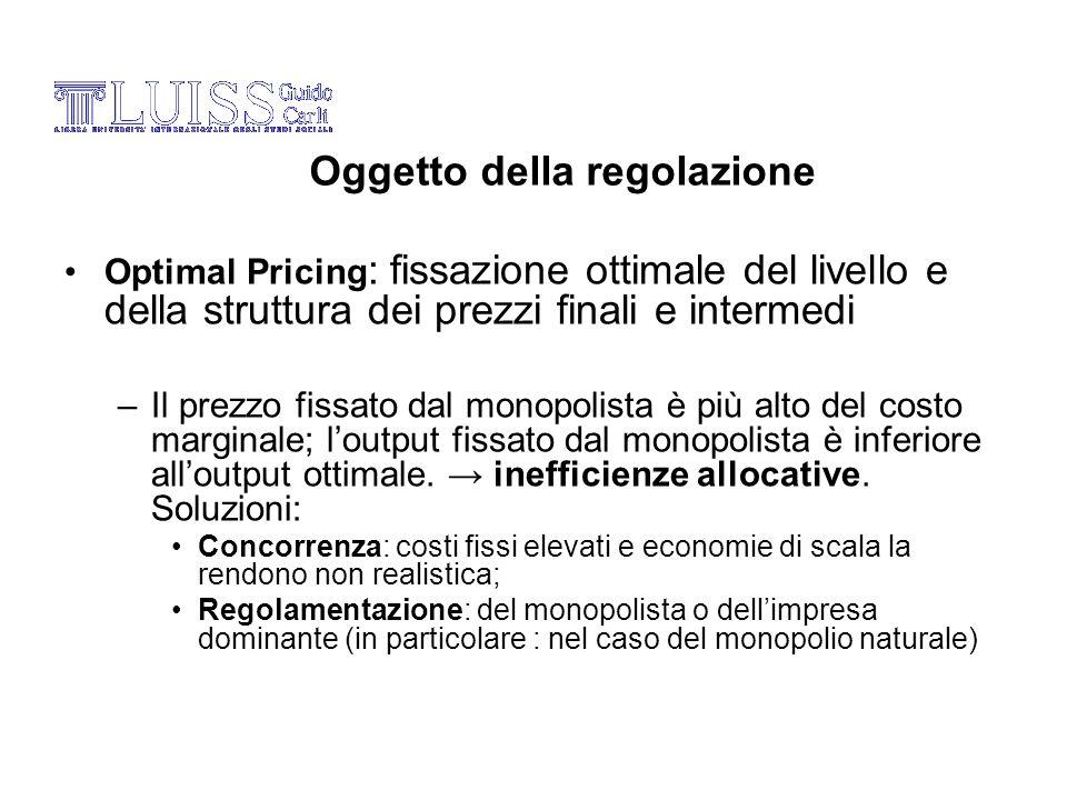 Optimal Pricing : fissazione ottimale del livello e della struttura dei prezzi finali e intermedi –Il prezzo fissato dal monopolista è più alto del co
