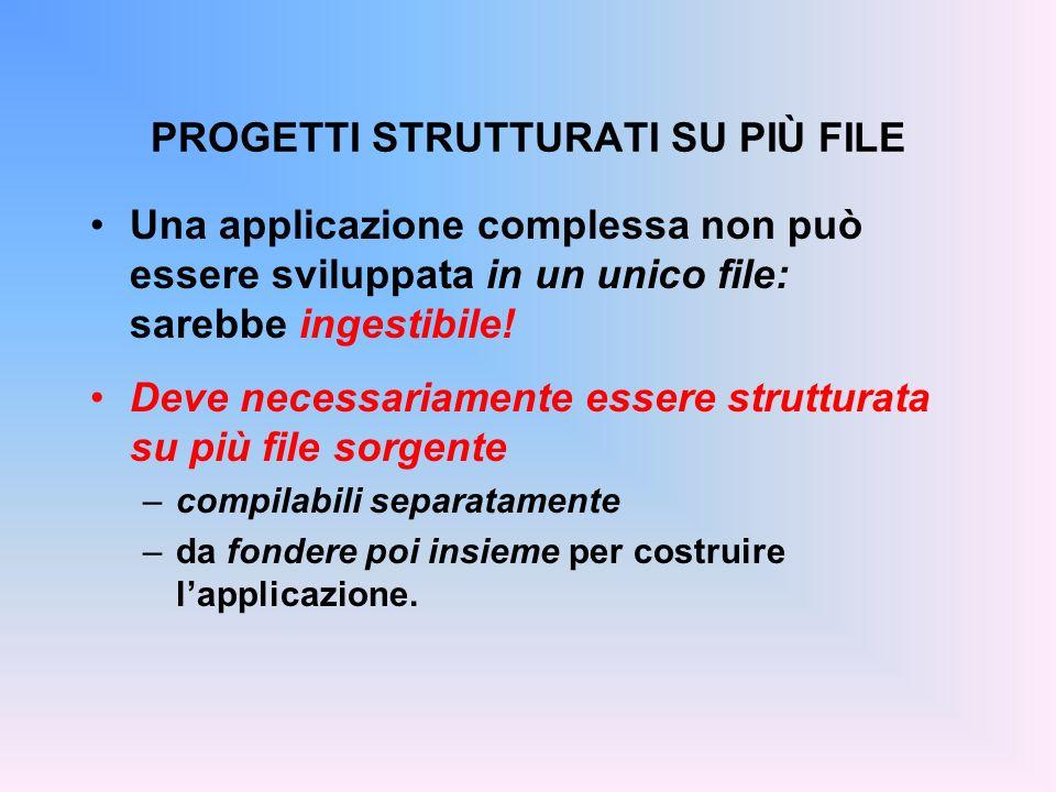 FILE HEADER Convenzione: se un componente è definito in xxx.c il file header corrispondente, che i clienti dovranno includere, si chiama xxx.h #include f2c.h main() { float c = fahrToCelsius(86);} File main.c (cliente) float fahrToCelsius(float f){...} File f2c.c (servitore)