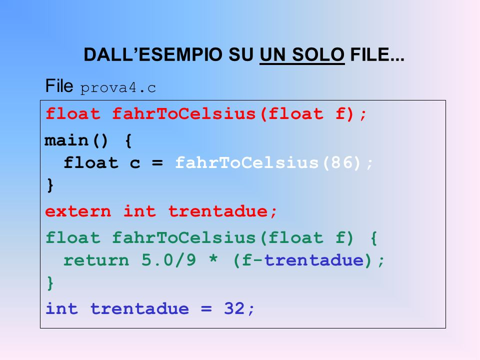 float fahrToCelsius(float f); main() { float c = fahrToCelsius(86); } extern int trentadue; float fahrToCelsius(float f) { return 5.0/9 * (f-trentadue); } int trentadue = 32; DALLESEMPIO SU UN SOLO FILE...