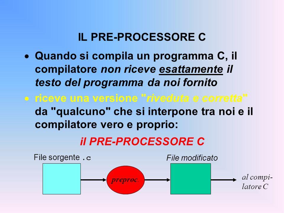 Quando si compila un programma C, il compilatore non riceve esattamente il testo del programma da noi fornito riceve una versione riveduta e corretta da qualcuno che si interpone tra noi e il compilatore vero e proprio: il PRE-PROCESSORE C IL PRE-PROCESSORE C File sorgente.c File modificato preproc.